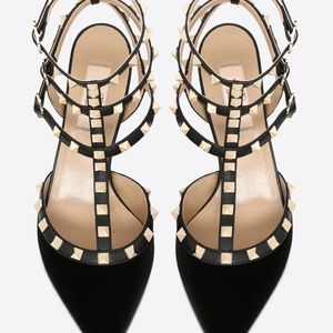 Valentino Shoes - Valentino Black Velvet Caged Kitten Heel NIB